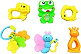 Blossom Baby Teethers Rattle Toy (Set of 6 Pcs) with Various Exciting Rattle Toys for New Borns & Infants, Multi Color