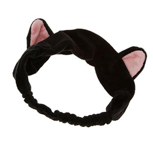 aarbänder Haarschmuck Haarreifen mit Katze-Ohr für Gesichtswäsche Make up - Schwarz ()