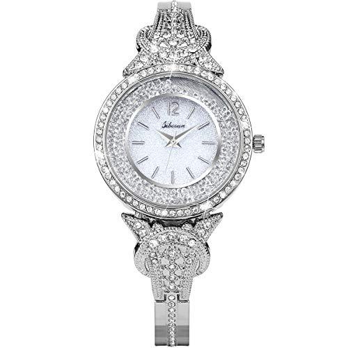 sibosun orologio da polso da donna da donna quarzo cinturino in acciaio inossidabile con cinturino in cristallo bianco quadrante bianco