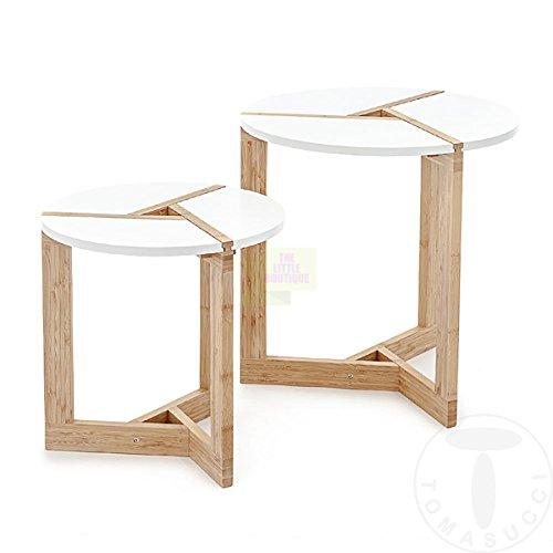 TOMASUCCI Set de 2 Tables Basses VARM - Plateau en medium laqué blanc opaque - Pieds en bois massif teinté chêne - Grande Table : H.51 cm et Diam. 50 cm - Petite Table : H.41 cm Diam. 40 cm