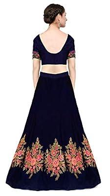 KEDARFAB Women's Cotton Silk Embroidery Lehenga Choli with Blouse Piece (Free Size, Blue Pink)