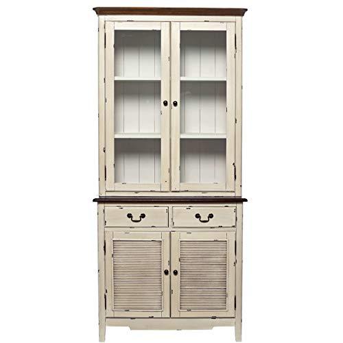 Buffetschrank im Landhausstil mit Glastüren, Schubladen - Vitrine im Vintage-Look - Holz - 150 x 44 x 206 cm - Cabott Cove BUTLERS (Bobs Möbel Kommoden)