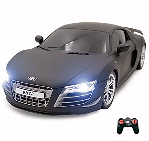 Audi R8 Remote Control Car – Electric Radio Controlled Audi R8 GT On Road RC Car – Working Lights – PL9141 1:18 Official Licensed Audi R8 Model – RTR, EP (Black)
