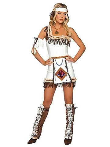 Indianerin Kostüm 5teilig - braun/weiß - M/L (Indian Chief Kostüm Zubehör)