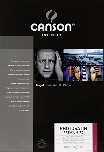 Canson infinity Satin Premium RC 206231011 - Papel fotográfico (A3, 25 hojas), color blanco