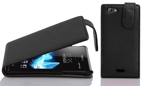 Cadorabo - Flip Style Hülle für Sony Xperia J - Case Cover Schutzhülle Etui Tasche in OXID-SCHWARZ