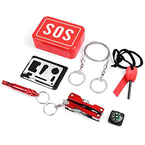 StarsBaby Outdoor-Sport Wandern Camping Survival Kits Erste-Hilfe-Kits SOS Notüberlebens-Gerät Schlüsselanhänger Tool Whistle Compass Zangen Aufbewahrungsbox Portable Case Set - Survival Kit Case