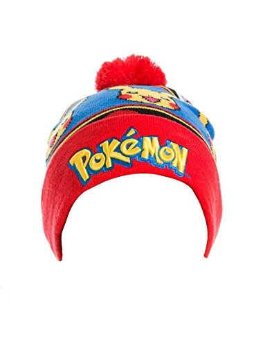 Pokemon Pikachu Beanie mit Logo Bobble Hat (One Size, Rot)
