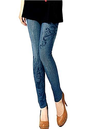 Inception pro infinite (blu) leggings donna - effetto jeans - stampa - chitarra - pantacollant - taglia unica - aderente - elasticizzato - idea regalo -