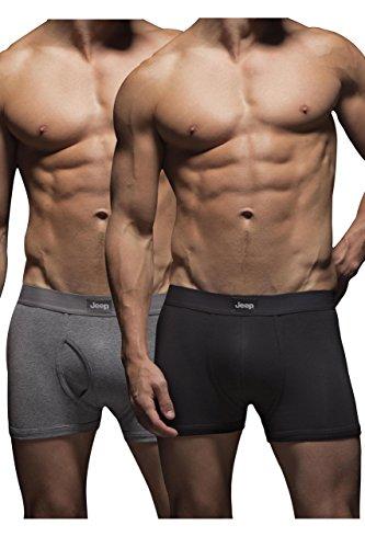 mens-2-pack-jeep-cotton-plain-fitted-key-hole-trunk-boxer-shorts-black-grey-marl-medium