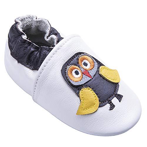Weiche Leder Babyschuhe mit Mokassins Wildledersohlen für Kleinkinder Kleinkinder Jungen Mädchen Prewalker Schuhe (12-18 Monate, Eule) -