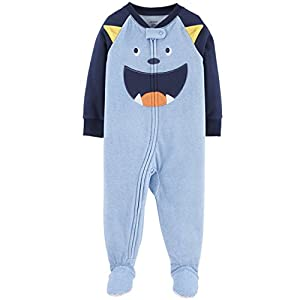 Carter's Baby Boy's 12M-5T One Piece Fleece Pajamas, Blue Monster, 5T 7