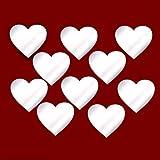 Embellishments - HEART Shatterproof Acrylic Mirror Pack of 10 (1.5cm each) 3 fo...