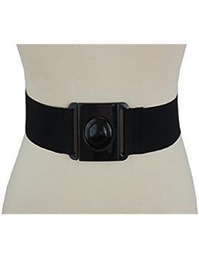 5cm cinturón elástico negro, Una gran hebilla de plástico XS-XL