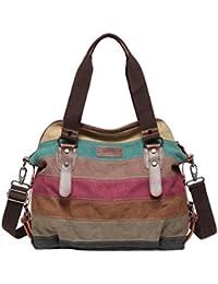 4a2e9490522a6 Defeng Canvas Schultertasche Umhängetasche Bunte Streifen Handtasche  Messenger Damenhandtasche