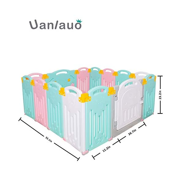 Foldable Baby Playpen Kids Activity Centre Safety Play Yard Home Indoor Outdoor New Version Uanlauo MOM'S LIFESAVER: Keep baby safe in there play centre when mom/dad needs to cook, clean up, go to the bathroom, etc. Foldable & Easy Packing: Designed with a simple fold and go deign. Easy to set up and take down within seconds.Convenient both indoor and outdoors. STURDY HOLDING: Specially designed rubber feet underneath of the yard so the parts don't go sliding around. 4