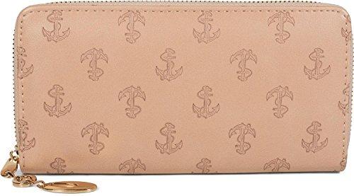 styleBREAKER Geldbörse mit All Over Anker Seil Prägung, maritimer Look, Reißverschluss, Portemonnaie, Damen 02040104, Farbe:Rose