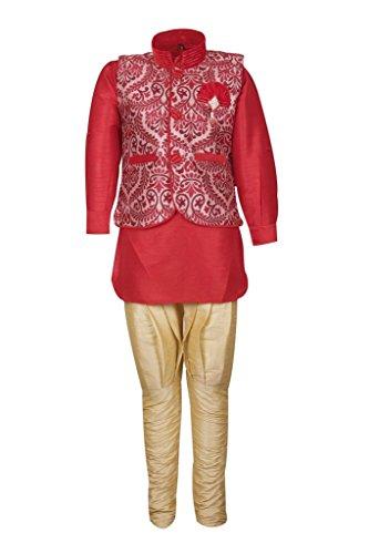 AJ Dezines Kids Kurta Pyjama Waistcoat Set for Baby Boys (639_RED_1)