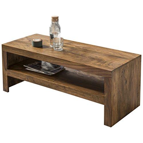 Wohnling Couchtisch Massiv-Holz Sheesham 110 cm breit Wohnzimmer-Tisch Design Landhaus-Stil Beistelltisch Natur-Produkt Wohnzimmermöbel Unikat modern Massivholzmöbel Echtholz rechteckig dunkel-braun (Rechteckige Tv-fach)