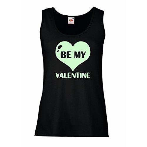 """Femme Débardeur Sans manche """"Sois ma Valentine"""", guillemets sur l'amour super-cadeau Noir Fluorescent"""