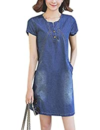 fbf733ec5c2a7a OMUUTR Damen Sommer Jeanskleid Blusenkleid Minikleid Rundhals Kurzarm Kurze  Ärmel Denim Kieider Hemdkleid AbendKleid PartyKleid