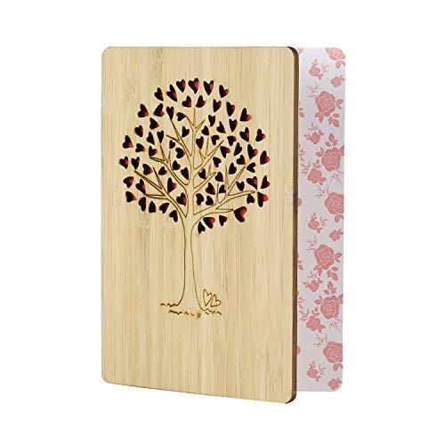 EKKONG Gefertigte Bambuskarte Beschreibbare mit Herz Baum, Perfektes Geschenk für jeden Anlass - Grußkarte für Hochzeitstag, Geburtstag, Jubiläum Karte