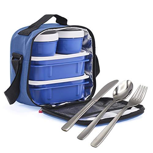 Gk kit urban food azul steel con posate in acciaio inossidabile 18/0 nickel free - porta alimenti da zaino con 4 con ermetici
