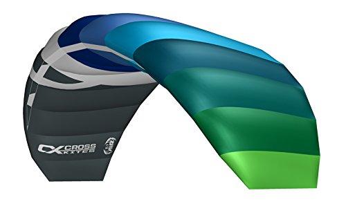 Crosskites Lenkmatte Lenkdrachen Air 2.1 Blue-Green mit Leinen und Lenkschlaufen R2F 2 Leiner Matte Kite Stranddrachen für ambitionierte Kiter 210 cm Spannweite