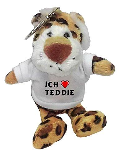 Plüsch Leopard Schlüsselhalter mit T-shirt mit Aufschrift Ich liebe Teddie (Vorname/Zuname/Spitzname) (Leopard Teddies)