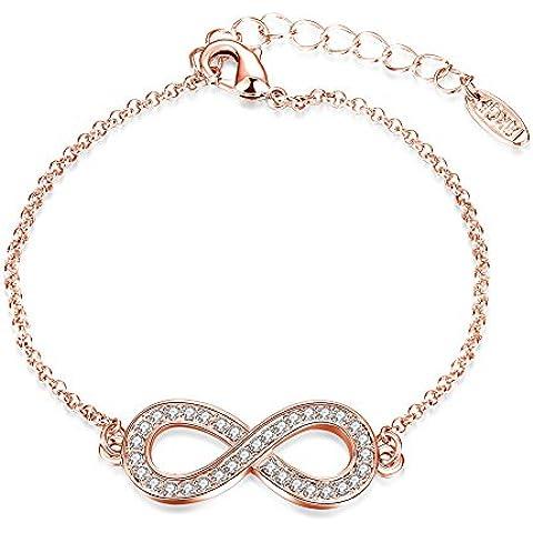 Placcato oro 18K Trendy Infinity Bracelet 8 pollici Figura 8 braccialetto registrabile, regalo dei monili a catena donna di collegamento a mano