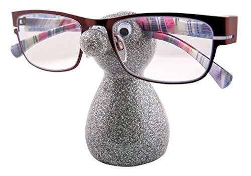 Seat-stand (NEW SNOOZLE GLASSES STAND HOLDER SEAT FOR YOUR SPECS GIFT STOCKING FILLER BOXED by Snozzles & Hooties- Silberfarben glitzernd)