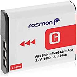 Fosmon 3.7V / 1400 mAh Sony NP-FG1 / NP-BG1 Remplacement Li-ION Batterie pour Sony Cyber-Shot W Series Caméra DSC-W120, W110, W115, W130, W150, W170, W210, W300, DSC-T100, DSC-T20, DSC-N1, N2, H50
