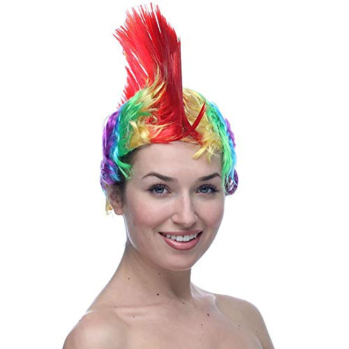 eit Cosplay Perücke kurz Rainbow Toupee Adult Hair für 80er Jahre Punk Rocker Kostüm Pop Party Halloween Kostüm Karneval,Red ()
