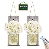 Mason Jar Wall Sconces, Fairy Lights Vintage Wrought Iron Hook Silk Hydrangea Flower with Remote Control LED Strip Lights for Rustic Home Kitchen Decoration (Set of 2)
