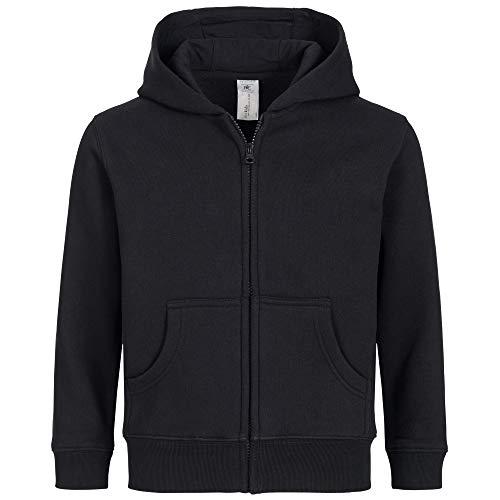 Premium Basic Zip (Kinder Kapuzenjacke für Mädchen & Jungen | Schadstofffrei | Öko Tex & Fair Wear Zertifiziert | Zipper mit Reißverschluss in Schwarz, Gr. 134-146)