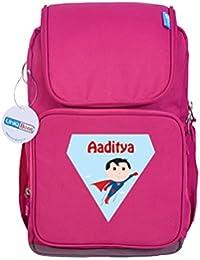 UniQBees Personalised School Bag With Name (Smart Kids Large School Backpack-Pink-Superman)