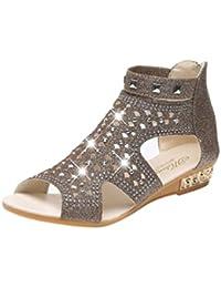 Anguang Donna Luccichio Sandali Zipper Elegante Cavo Piatto Sandali Antiscivolo Oro#2 37 jLSqwg0