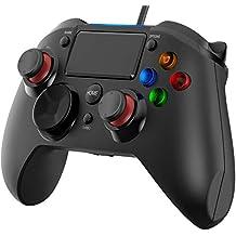 VicTsing Gamepad Controller USB, Mando para PC con Cable Joysticks con Doble vibracion Turbo y Botones de activacion para PS4 / PS3 / PC (Windows XP / 7/8 / 8.1/10) / Android/Steam, Negro