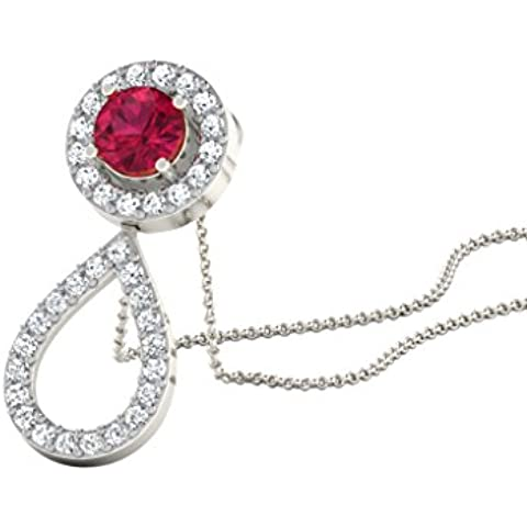 Libertini 0.36 Cts Diamonds & 0.9 Cts Ruby Pendant in 18KT White Gold (GH Color, PK Clarity) with 16