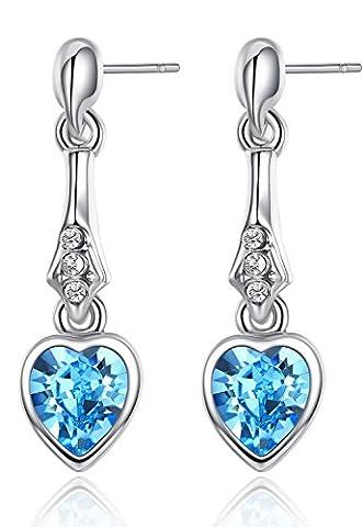 OneChance Damen Ohrring Kollektion Blau Kristall Herz Ohrhänger