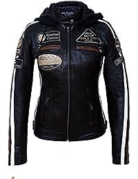 Chaqueta Moto Mujer de Cuero Urban Leather UR-152 '58 LADIES' | Chaqueta Cuero Mujer | Cazadora Moto de Piel de Cordero | Armadura Removible para Espalda, Hombros y Codos Aprobada por la CE |Negro | S