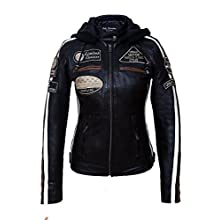 Urban Leather UR-154 Women's Motorcycle Jacket with Protective Padding, Black, L