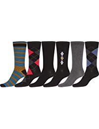 Sakkas Mens Cotton Blend Ribbed Dress Socks Value 6-Pack - Black