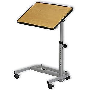 Beistellwagen Beistelltisch braun | bewegliche Tischplatte | Höhenverstellbar | Zusammenklappbar