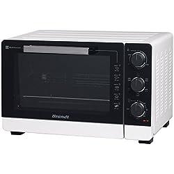 BRANDT - Mini four posable et compact 2100 W - Capacité 40L - Multifonction avec 5 modes de cuisson - Cuisson homogène - Double vitrage - Blanc