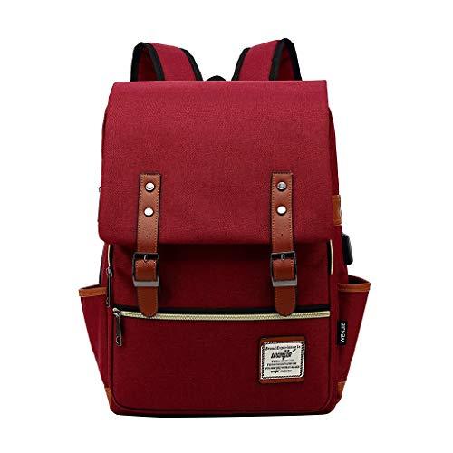 Damen Rucksack Mädchen Schultaschen Gross Schulrucksack Canvas Outdoor Backpack mit USB Ladeanschluss für Arbeit Reisen Camping