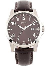 Guess Herren-Armbanduhr XL SQUADRON Analog Leder W65012G1