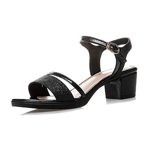 GENLLV Womens Sandalen atmungsaktiv Peep Toe hochhackigen niedrigen mittleren Blockabsatz Mary Janes High Heel Knöchelriemen Schuhe Hochzeit Party Arbeit,Black Standard-38EU -