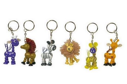 """Small Foot by Legler Schlüsselanhänger """"Safari"""" mit lustigen Wildnis-Tieren, 6 verschiedene bunte Holzfiguren mit Schlüsselring, schöner Wegbegleiter für Kinder"""
