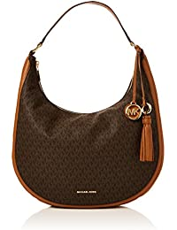 7050af656f9f Michael Kors Lydia Logo Shoulder Bag, Sacs portés épaule femme, Marron  (Brown)